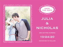 custom save-the-date cards - bright pink - cara (set of 10)
