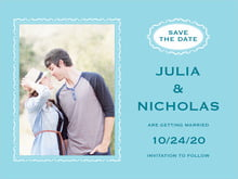 custom save-the-date cards - bahama blue - cara (set of 10)