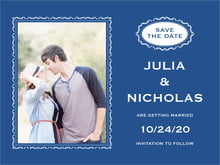 custom save-the-date cards - deep blue - cara (set of 10)