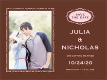 custom save-the-date cards - cocoa & pink - cara (set of 10)