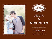 custom save-the-date cards - chocolate - cara (set of 10)