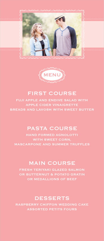 custom menus - grapefruit - cara (set of 10)
