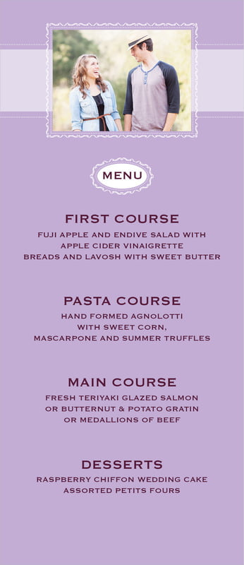 custom menus - lilac - cara (set of 10)