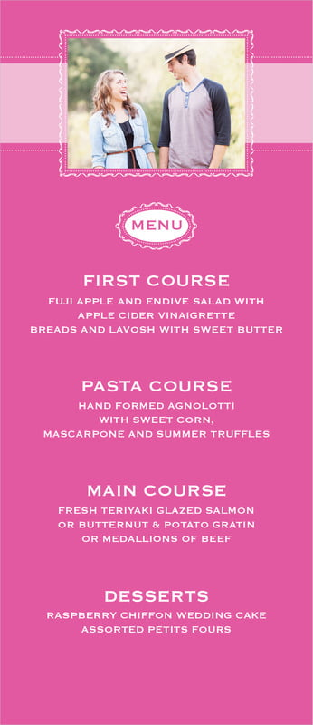 custom menus - bright pink - cara (set of 10)