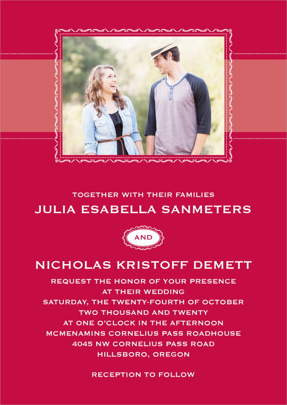 custom invitations - deep red - cara (set of 10)