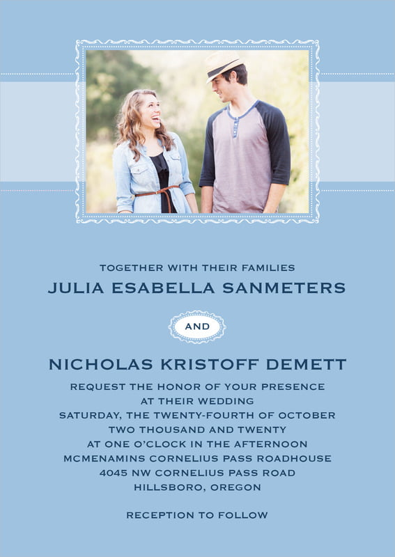 custom invitations - blue - cara (set of 10)