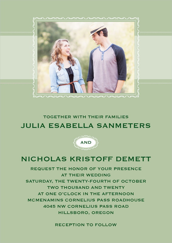custom invitations - sage - cara (set of 10)