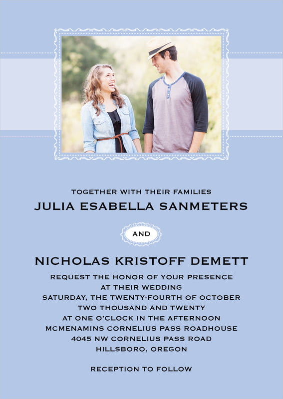 custom invitations - periwinkle - cara (set of 10)