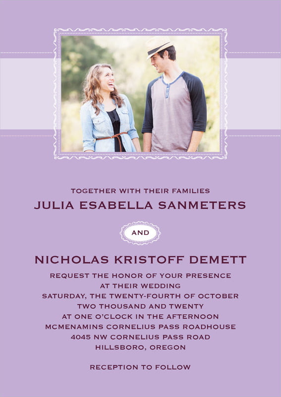 custom invitations - lilac - cara (set of 10)