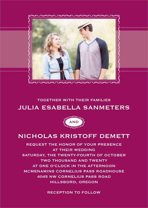 custom invitations - burgundy - cara (set of 10)