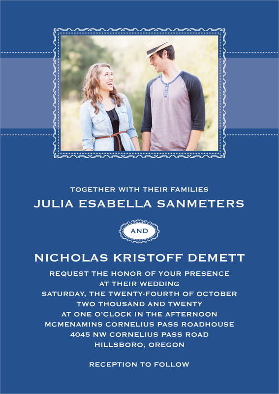 custom invitations - deep blue - cara (set of 10)
