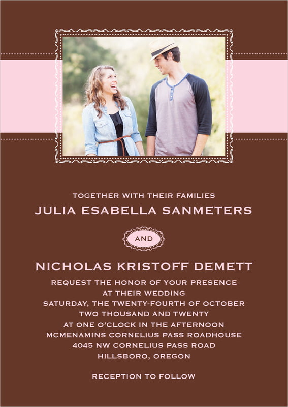 custom invitations - cocoa & pink - cara (set of 10)