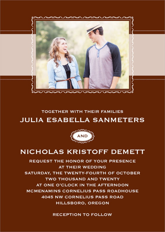 custom invitations - chocolate - cara (set of 10)