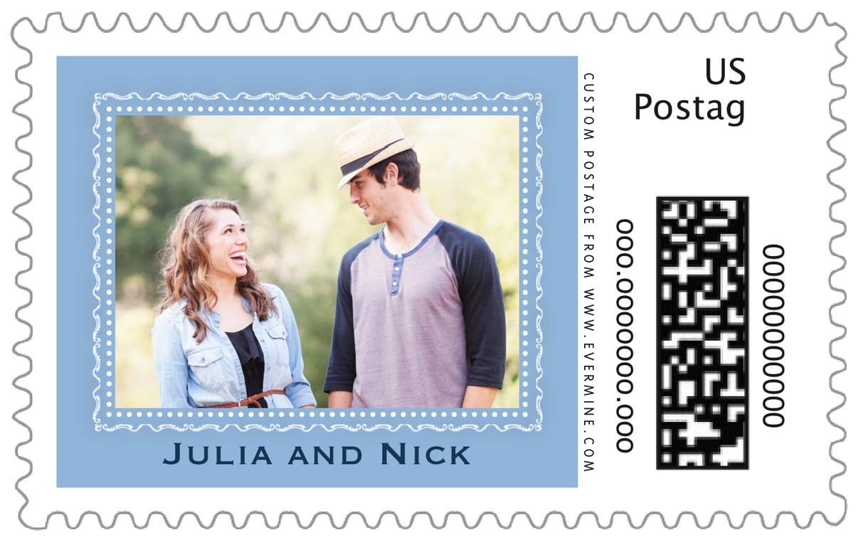 custom large postage stamps - blue - cara (set of 20)