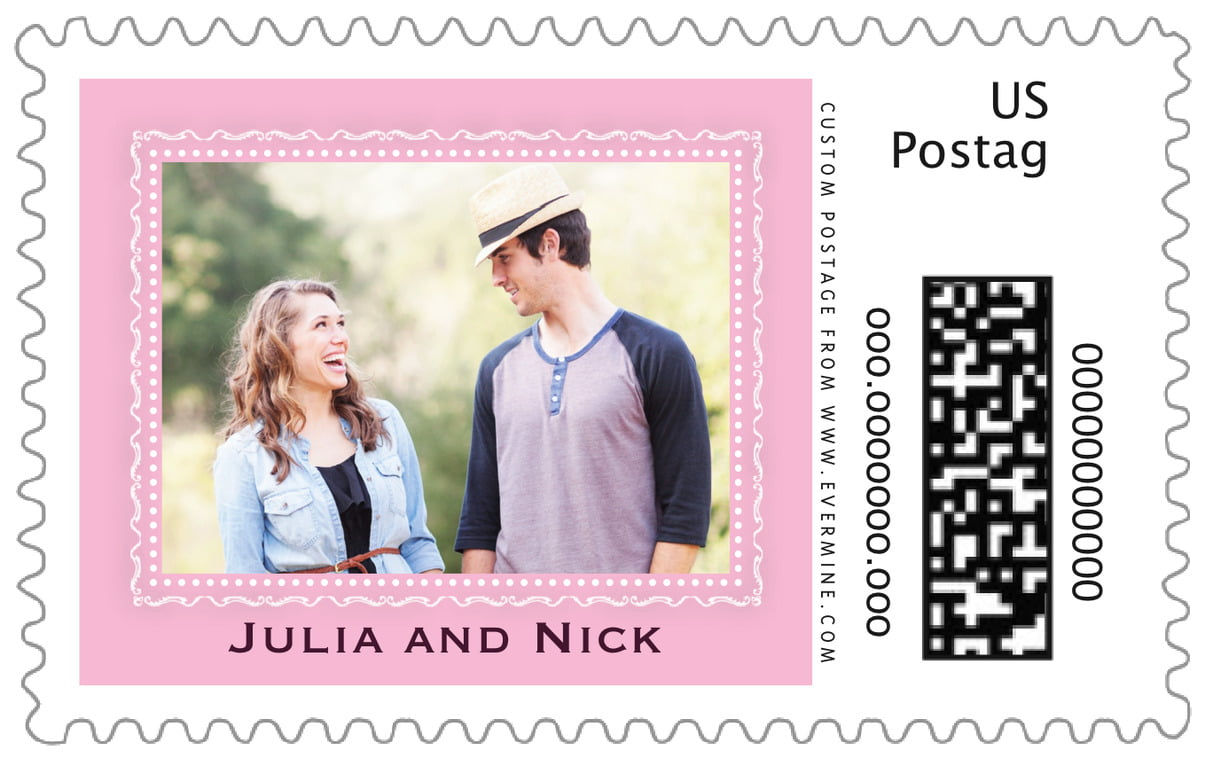 custom large postage stamps - pale pink - cara (set of 20)