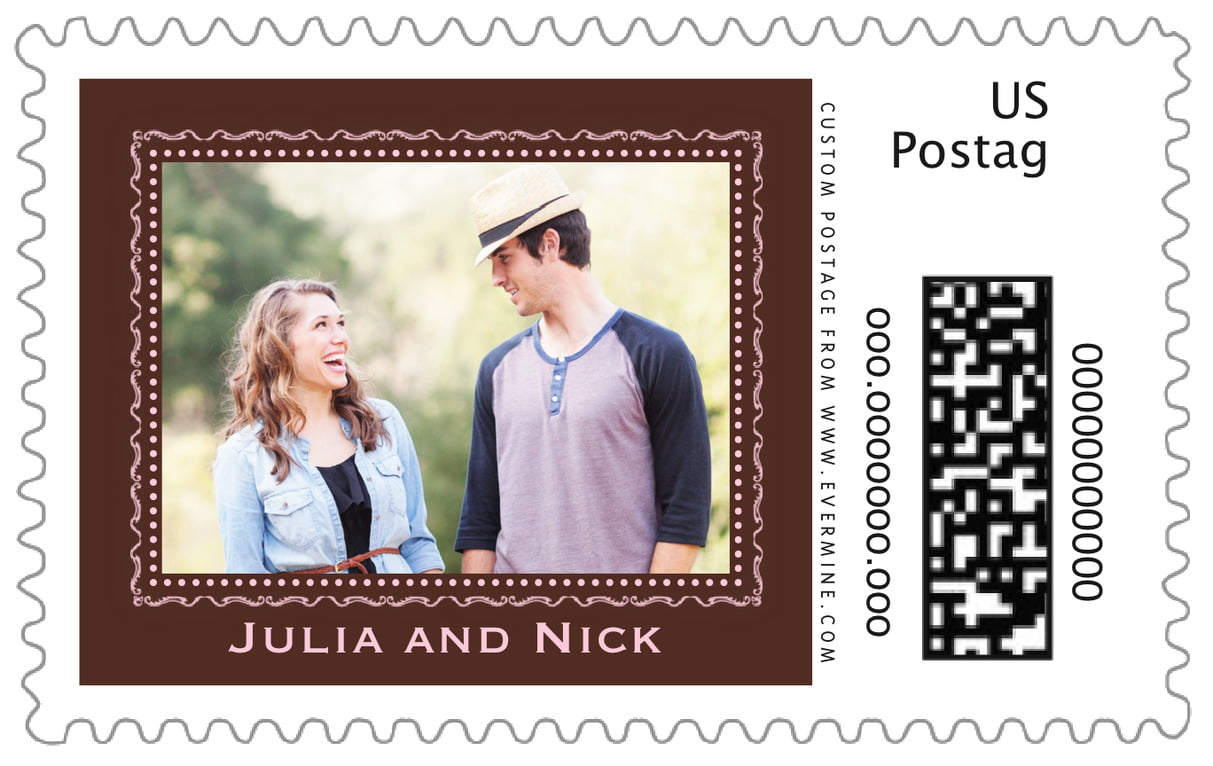 custom large postage stamps - cocoa & pink - cara (set of 20)