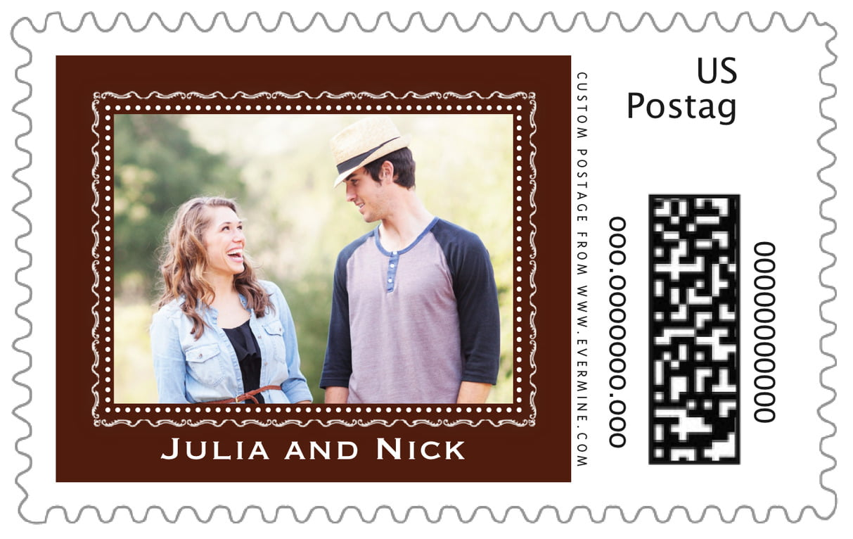 custom large postage stamps - chocolate - cara (set of 20)