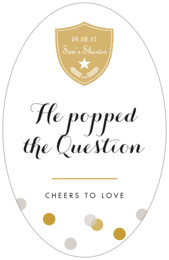 Champagne tall oval labels