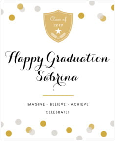 Champagne graduation labels