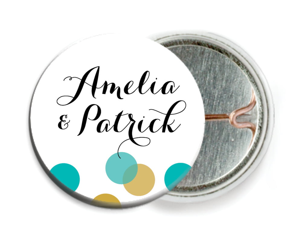 custom pin back buttons - turquoise - champagne (set of 6)