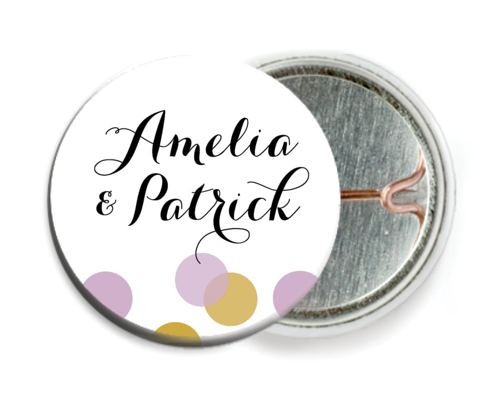 custom pin back buttons - lilac - champagne (set of 6)