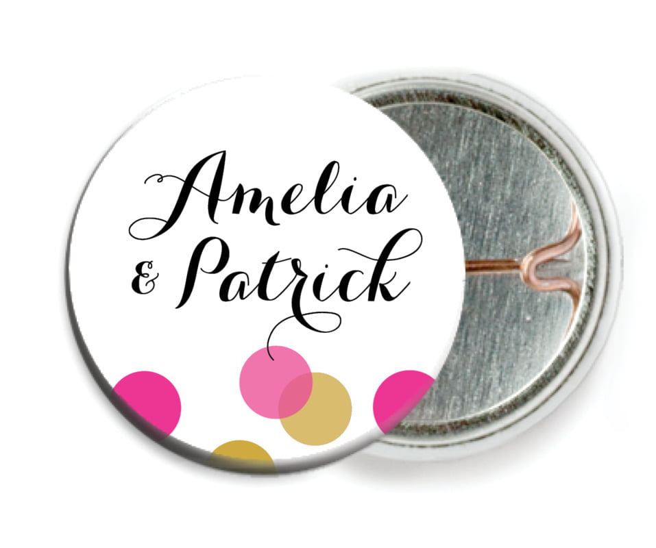 custom pin back buttons - bright pink - champagne (set of 6)
