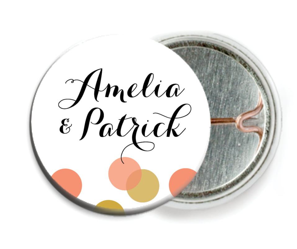 custom pin back buttons - coral - champagne (set of 6)