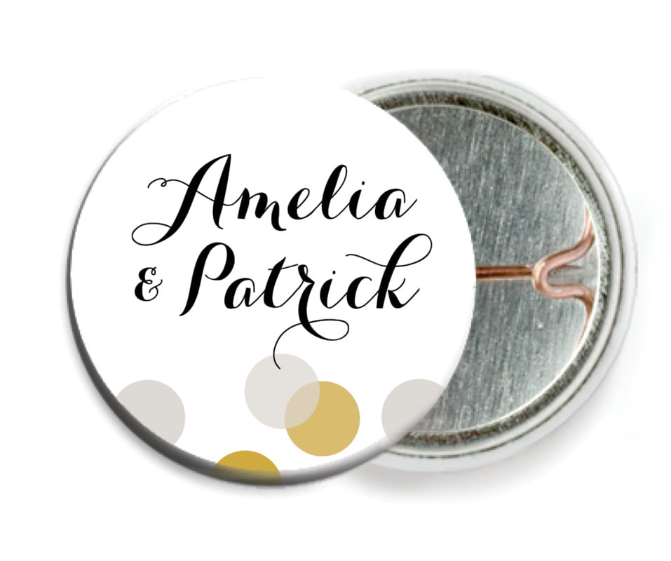 custom pin back buttons - stone - champagne (set of 6)