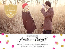 custom save-the-date cards - bright pink - champagne (set of 10)