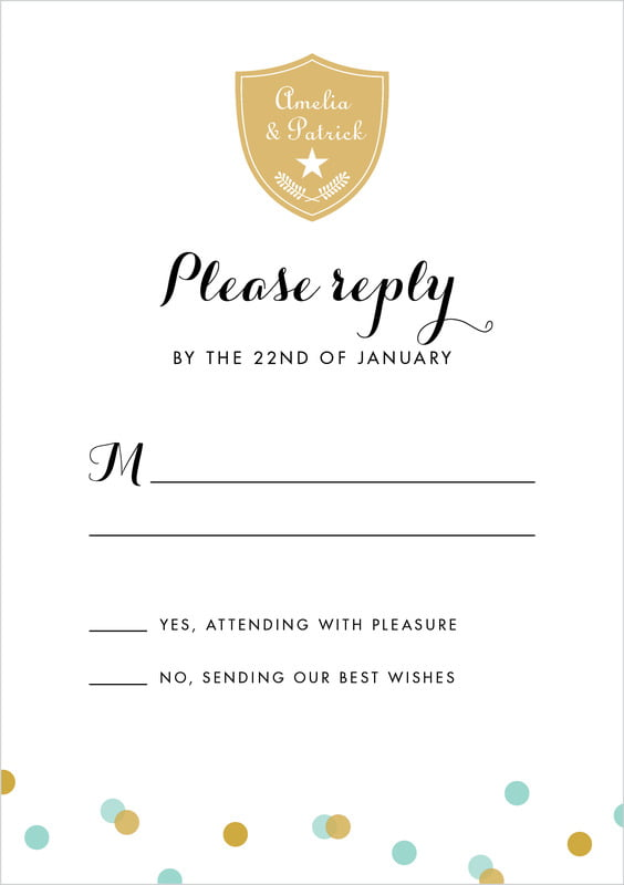 custom tall response cards - aruba - champagne (set of 10)