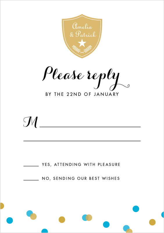 custom tall response cards - sky - champagne (set of 10)
