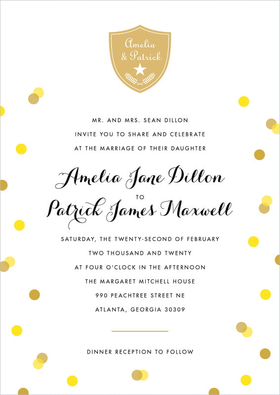 custom invitations - sunshine - champagne (set of 10)