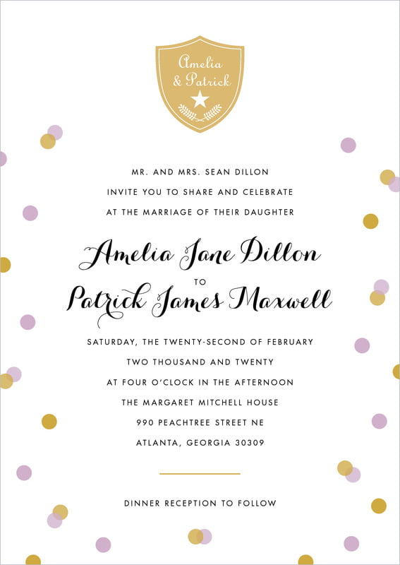 custom invitations - lilac - champagne (set of 10)
