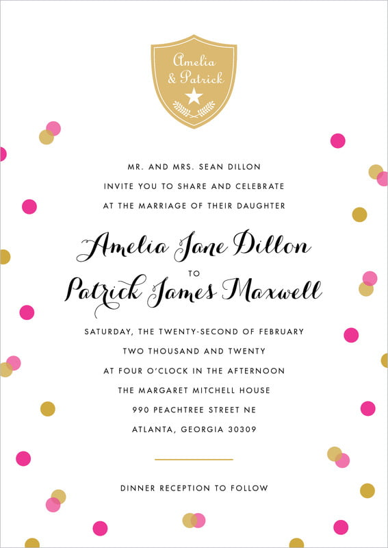custom invitations - bright pink - champagne (set of 10)