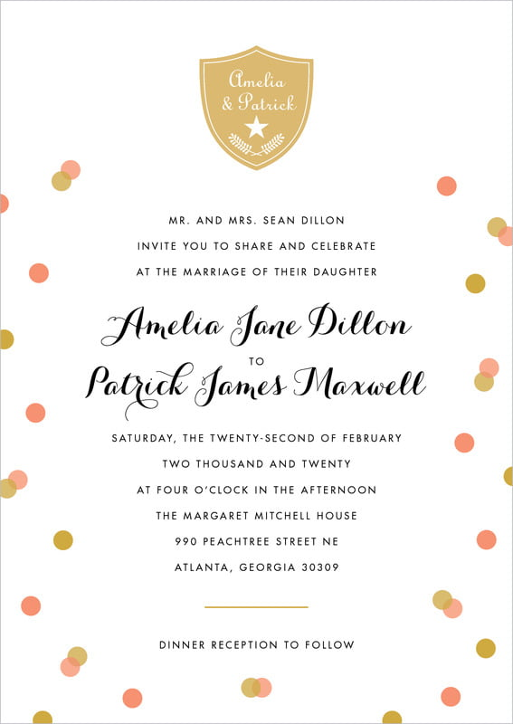 custom invitations - coral - champagne (set of 10)