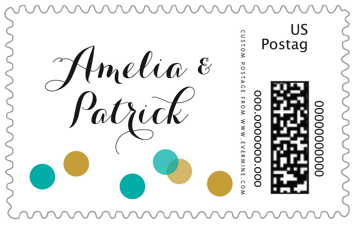 custom large postage stamps - turquoise - champagne (set of 20)