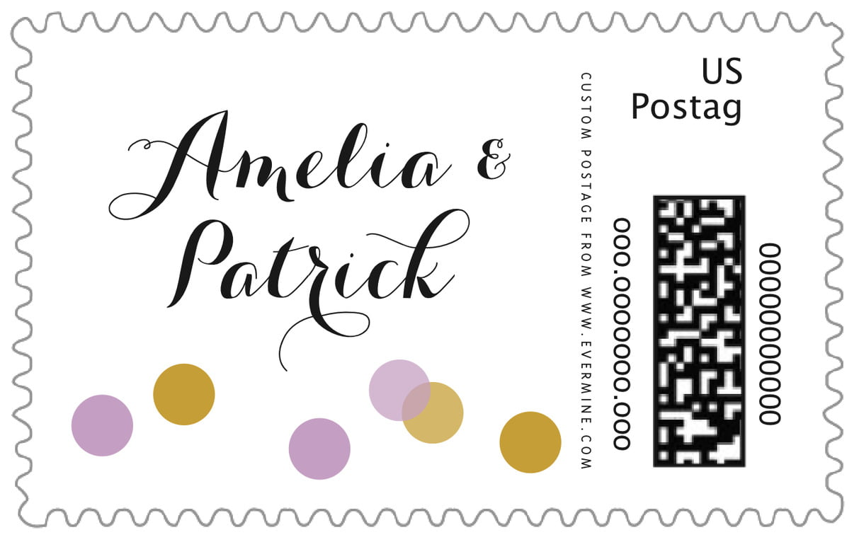custom large postage stamps - lilac - champagne (set of 20)