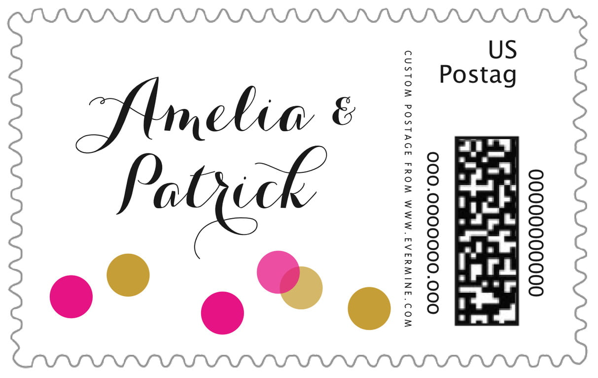 custom large postage stamps - bright pink - champagne (set of 20)