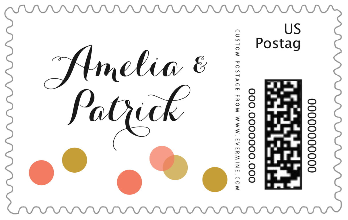 custom large postage stamps - coral - champagne (set of 20)