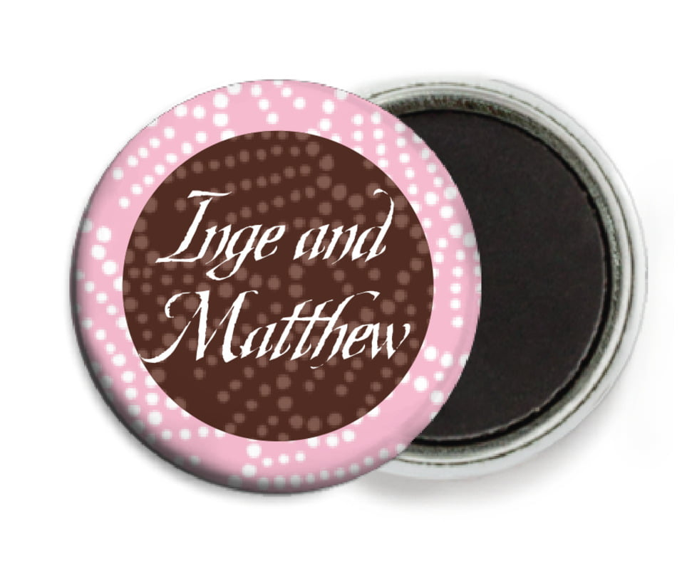 custom button magnets - cocoa & pink - cherry blossom (set of 6)