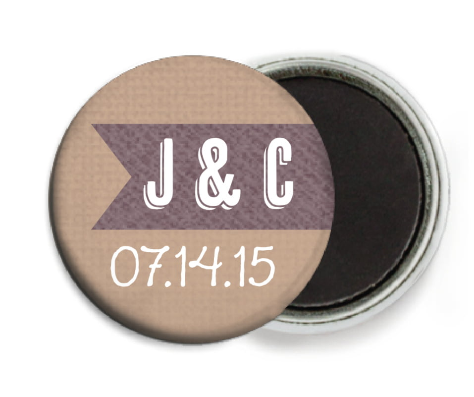 custom button magnets - mocha - casual celebration (set of 6)