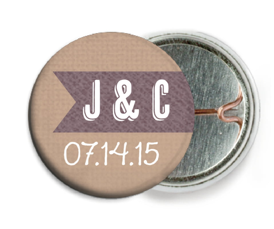 custom pin back buttons - mocha - casual celebration (set of 6)