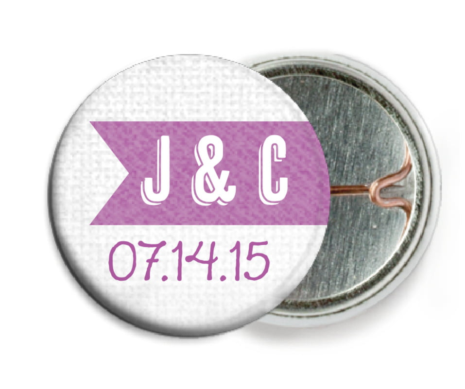 custom pin back buttons - radiant orchid - casual celebration (set of 6)