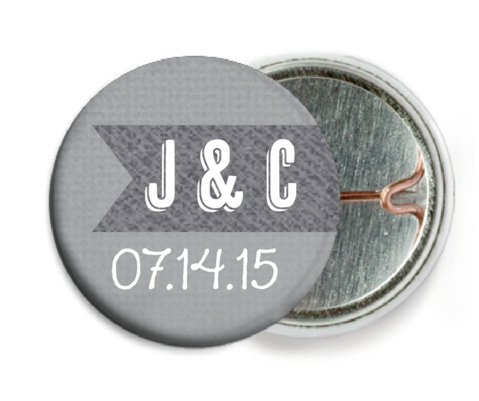 custom pin back buttons - stone - casual celebration (set of 6)