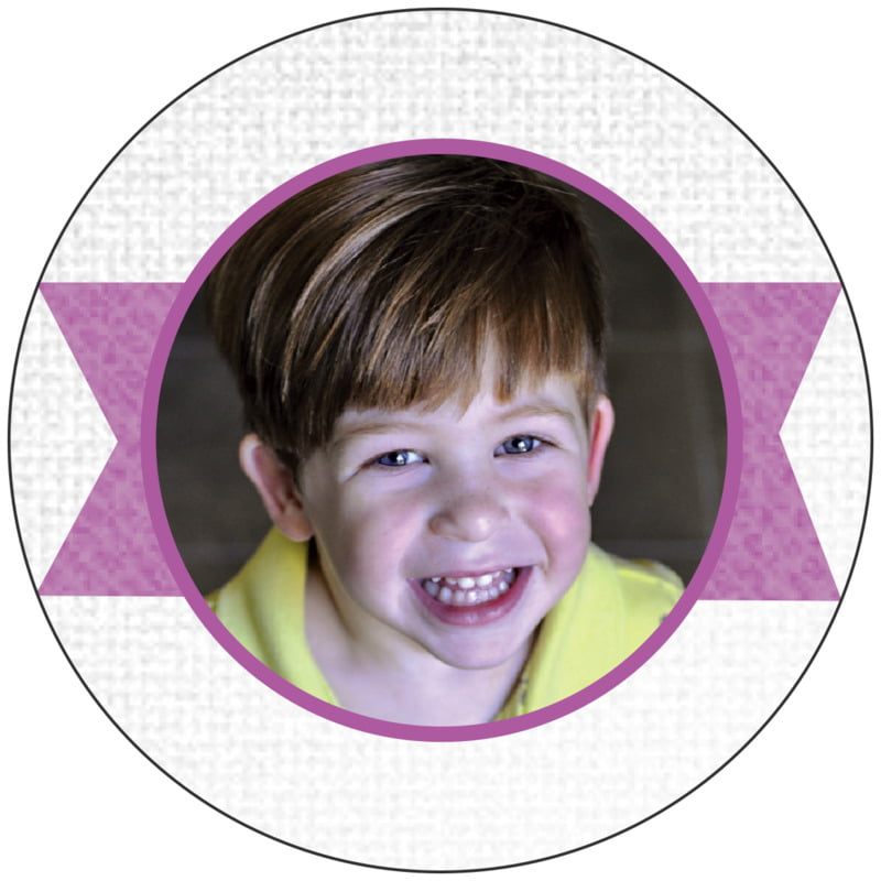 circle photo labels - radiant orchid - casual celebration (set of 20)