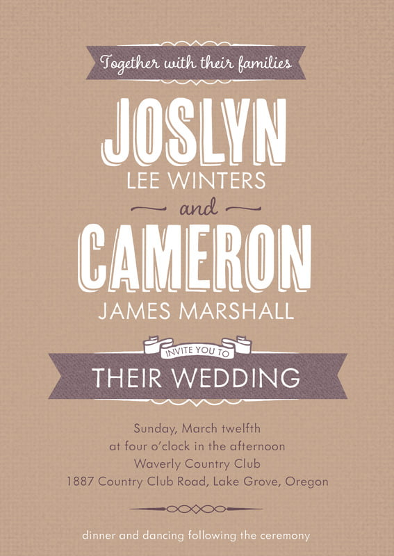 custom invitations - mocha - casual celebration (set of 10)
