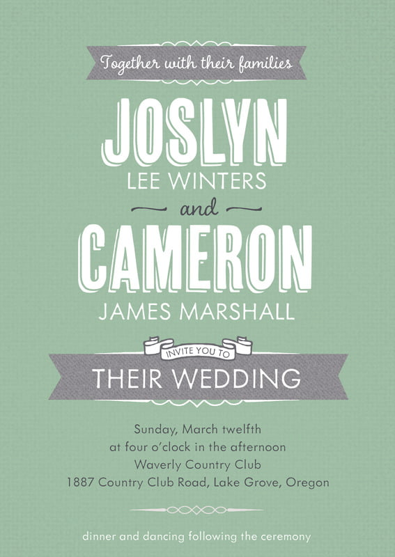 custom invitations - mint - casual celebration (set of 10)