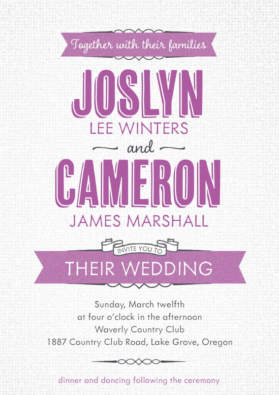custom invitations - radiant orchid - casual celebration (set of 10)