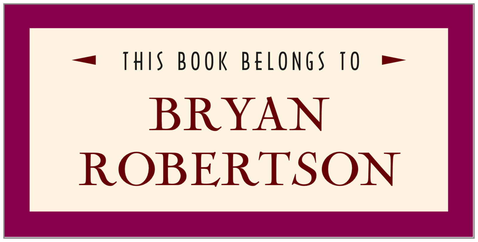 bookplates for everyone - burgundy - classic oldstyle (set of 24)