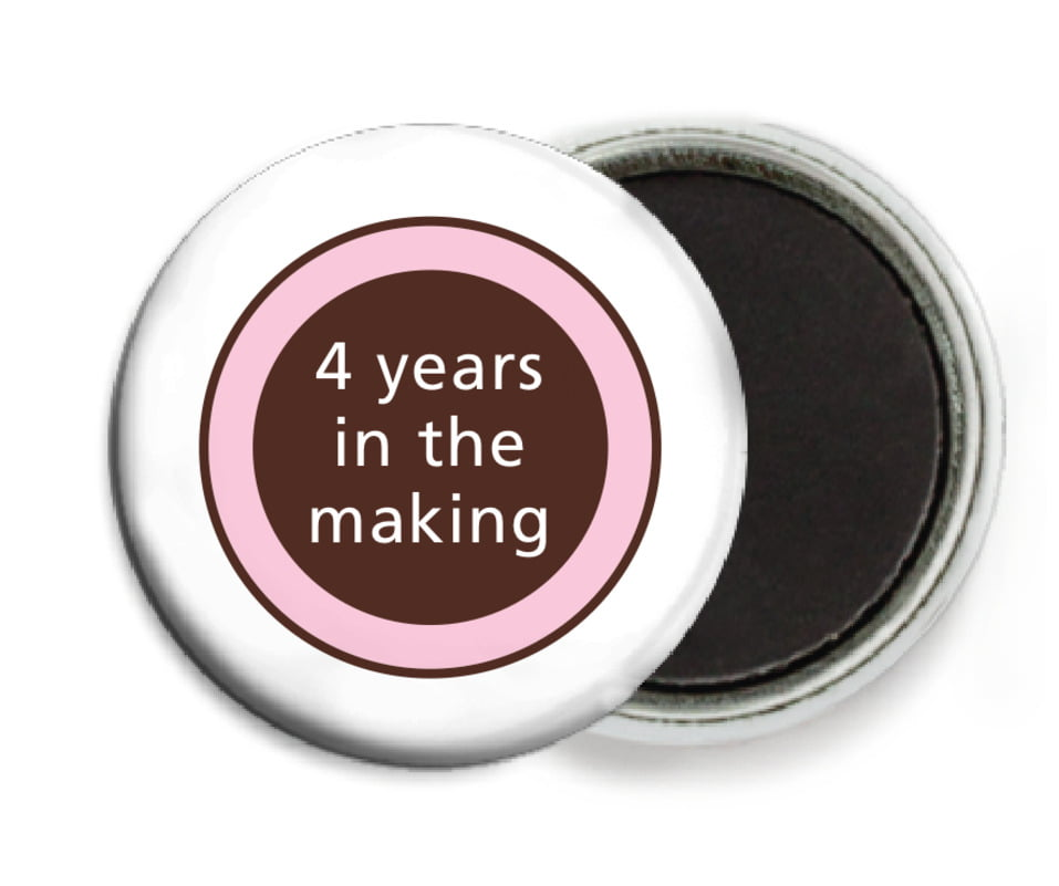custom button magnets - cocoa & pink - cosmopolitan (set of 6)